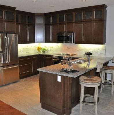 Image of Kitchen with Dark Cabinets