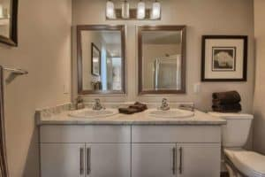 Image of Ironstone Bathroom with Frame Mirrors